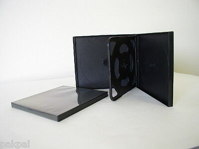 100 New 10.4Mm Slim Quad(4) Cd/dvd Poly Cases With Sleeve Black Psc75