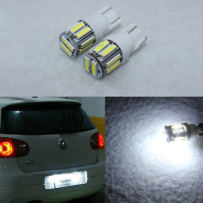 2Pcs T10 Super White 7020 SMD LED Ford License Interior Lights Bulb 194 168