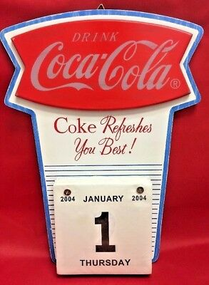Wood Coca Cola Sign with Unused Calendar Pad 2004 | Coke Refreshes You Best!