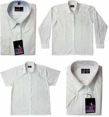 1aeefe0f699 New School Blouse Girls Shirt White Pale Blue Long Short Sleeve Ages 2 to  Adults