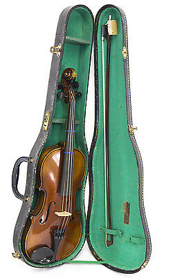 Antique German Made Violin & Bow with Case                                 (370)
