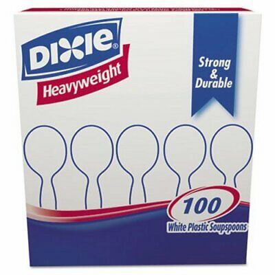 Dixie Plastic Cutlery, Heavyweight Soup Spoons, White, 100/Box (DXESH207)