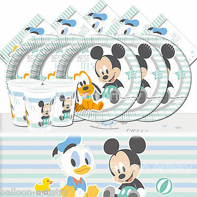 Classic Disney Mickey Mouse Infant Childs Birthday Complete Party Pack Kit For 8