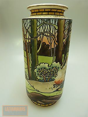 ROYAL NIPPON NISHIKI LANDSCAPE VASE ART NOUVEAU HAND PAINTED c.1900 JAPAN