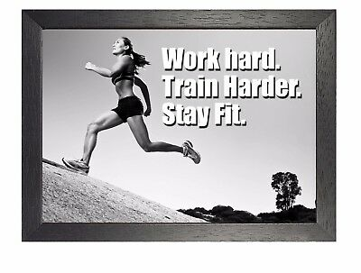 Motivational 614 Photo Running Quote Poster Work Hard Inspiration Sport Passion