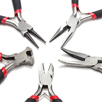 "5pcs SET JEWELERS PLIERS JEWELRY MAKING BEADING WIRE WRAPPING HOBBY 5"" PLIER"