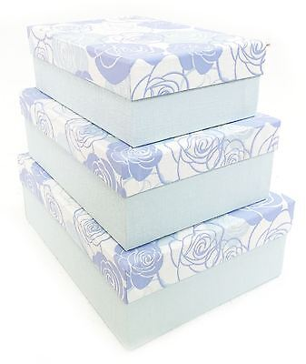 Blue Rose Flower Rectangle Hard Cardboard Craft Storage Xmas Brithday Gift Box