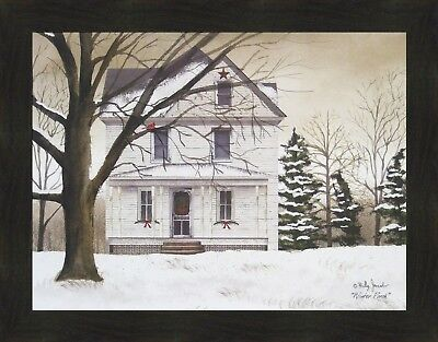 WINTER PORCH by Billy Jacobs 22x28 FRAMED PICTURE Farmhouse House Snow Cardinal