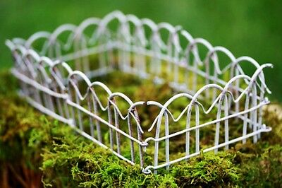 "Miniature White Wire Garden Fence 2.5"" X 24"" Dollhouse Or Fairy Garden New Nwt"