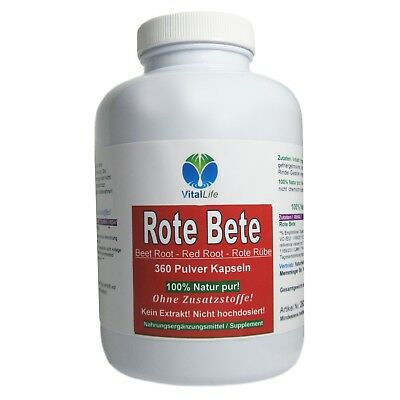 Rote Bete Beete Red Root Rote Rübe 360 Pulver Kapseln Natur Pur #25327