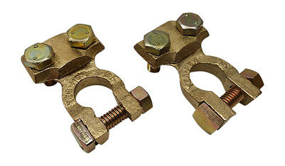 2x Solid brass Heavy Duty Car truck top post battery cable Wire terminals gold