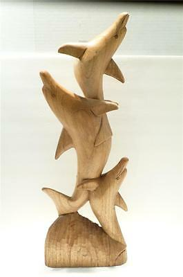 Estate Large Hand Carved Wood 3 Dolphin Figure Sculpture 24 in.