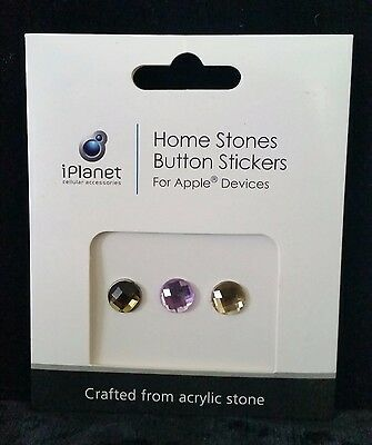 iPlanet 3 pc Home Stones Gems Jewels Button Stickers for iPhone + Apple Devices