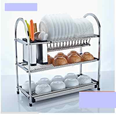 3 Tier Stainless Steel Dish Plate Cutlery Rack Kitchen Drainer Holder No Rust