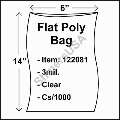 1000 3-Mil 6x14 Clear Poly Bag Open Top Lay Flat Packaging 122081