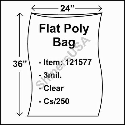 250 3-Mil 24x36 Clear Poly Bag Open Top Lay Flat Packaging 121577