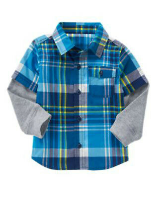 NWT Boy's CRAZY 8 D/S Multi-Color Plaid and Gray Button front Shirt Top