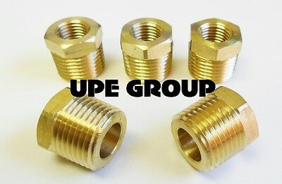 Brass Hex Bushing Reducing Npt Threads Pipe Fitting 1/2 Male X 1/4 Female  Qty 5
