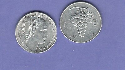Italy 5 Lire Aluminum Coin 1950 Choice Extra Fine Condition Cat#89