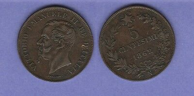 Italy 5 Cents Copper Coin 1862-N Choice Very Fine Condition Cat#3.3
