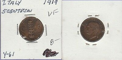 Italy 5 Centisimi Copper Coin 1919 Very Fine Condition Cat#Y-61