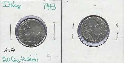 Italy 20 Centisimi  Coin 1943 Uncirculated Condition Cat#756