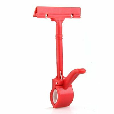 10X(Merchandise Retail Price Tag Pop Display Holder Clip Clamp Red HY