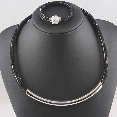 Clasp Tube Necklace Bracelet Magnetic Crystal Jewelry Set New Arrival T110