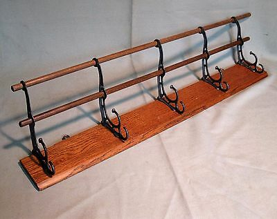 "ANTIQUE OAK WALL HUNG HAT/COAT/CAP RACK 5-2 STEP HOOKS w/2-WOODEN RODS 31 1/4""L"