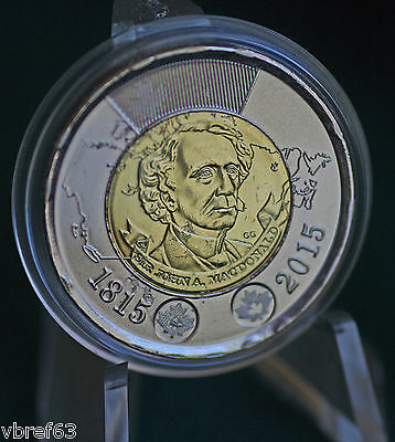 2015 Canada BU Toonie from roll - Sir John A. MacDonald - first prime minister