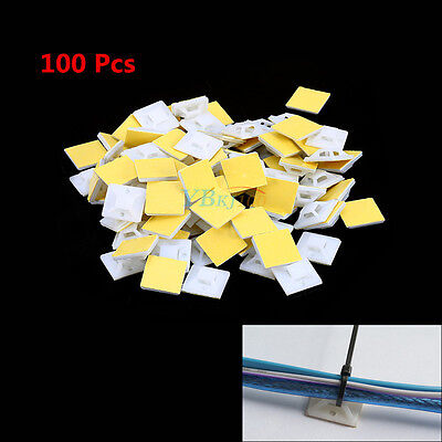 100PCS Self Adhesive Cable Wire Zip Tie Mounts Mounting Base Clamps Clip 20mm
