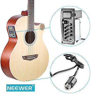 Neewer Portable EQ-7545R Acoustic Guitar 4 Bands Preamp Amplifier with Pickup
