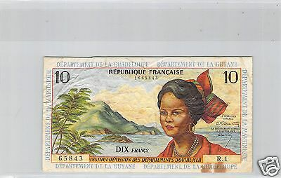 ANTILLES FRANCAISES 10 FRANCS ND (1964) O.2 N° 1665843 PICK 8a