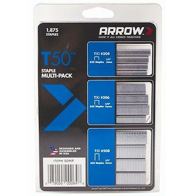 Arrow T50 Staples Assorted Multi Pack 1875 6mm, 10mm, 12mm