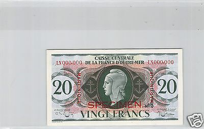Martinique Specimen 20 Francs Nd Decret 2.2.1944 Pick 24 S