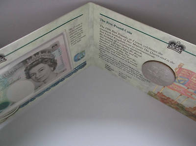 1996 coin + banknote cover Queen 70th Royal Mint £5 + Kentfield £5; free UK pp