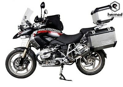 SW Motech Trax EVO Motorcycle Panniers Kit 37/45 Litre Silver - BMW R1200 GS