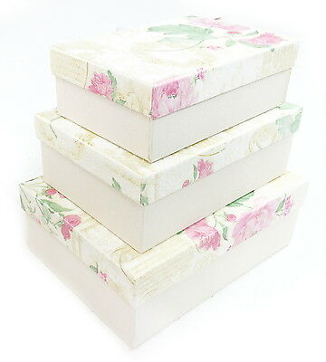 Yellow Floral Rectangle Hard Cardboard Craft Storage Xmas Brithday Gift Box