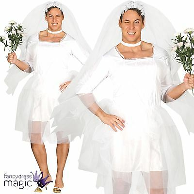 Adult Fun Male Bride Wedding Stag Do Party Funny Fancy Dress Costume Outfit Veil