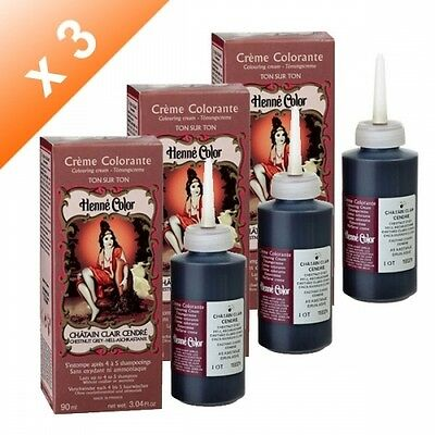 Lot de 3 Crèmes colorantes Chatain clair cendré Henné Color - 90ml