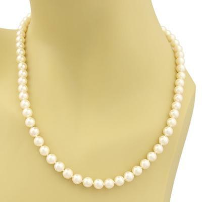 Mikimoto Blue Lagoon Single Strand 6.5mm Cultured Pearls 14k Gold Necklace