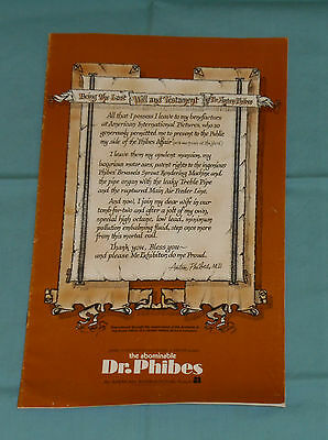 original THE ABOMINABLE DR. PHIBES PRESSBOOK Vincent Price Joseph Cotten
