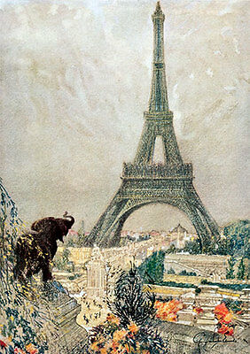 The Eiffel Tower by George W. Edwards (Art Print of Vintage Art)