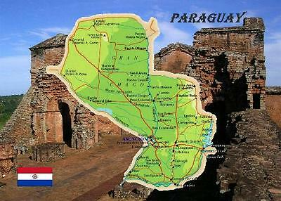 Paraguay Country Map New Postcard