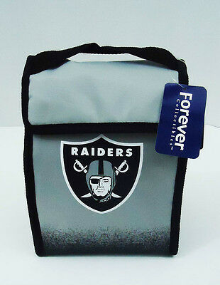 """Oakland Raiders Lunch Bag Cooler Velcro Tote Box New NFL 8"""" x 11"""" x 4"""" Silver"""