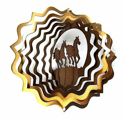 "6.5"" 3D Wind Spinner Horse Copper Metal Reflective Decor Yard Art Lawn Twister"