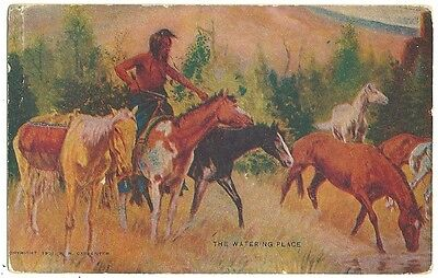 1901 Artist Indian on horses the Watering Place