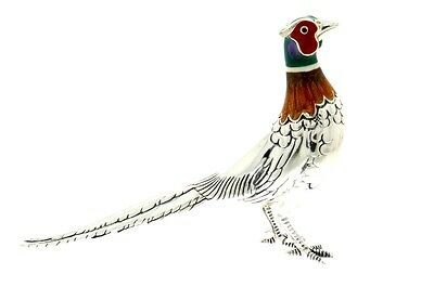 Sterling Silver & Enamel Large Pheasant by Saturno