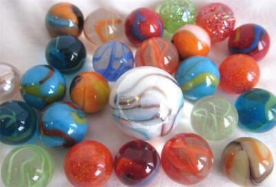 25 MIXED ASSORTMENT Game Marbles shooter red blue yellow orange glass swirl lot