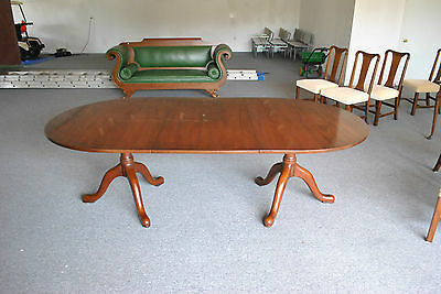 Kittinger Georgian Style Double Pedestal Mahogany Dining Table with Two Leafs